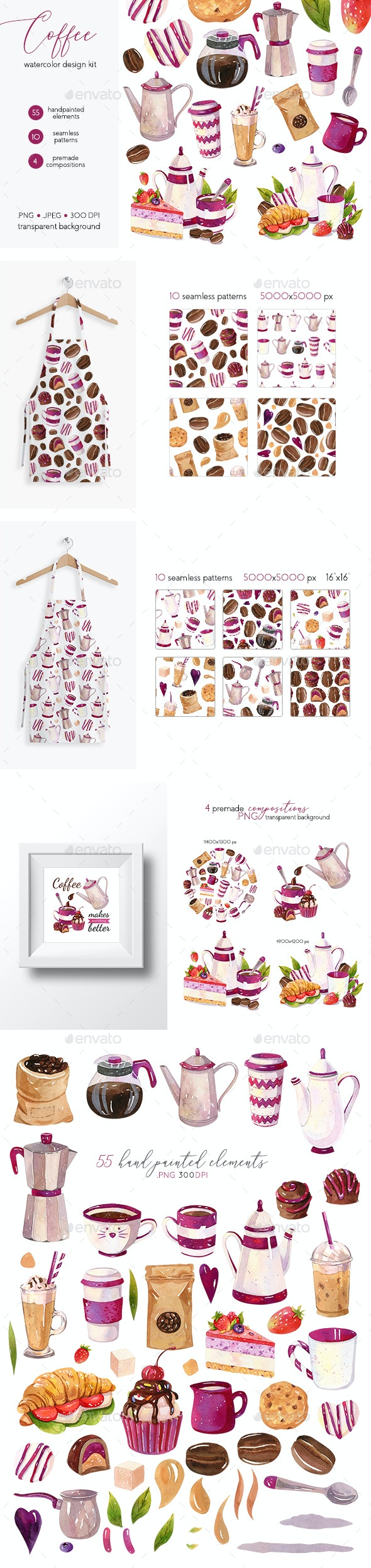 Coffee Design Set - Watercolor Illustrations - Objects Illustrations