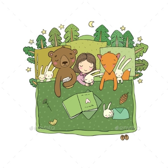 Cartoon Girl Sleeping in Bed. Baby and Toys - Animals Characters