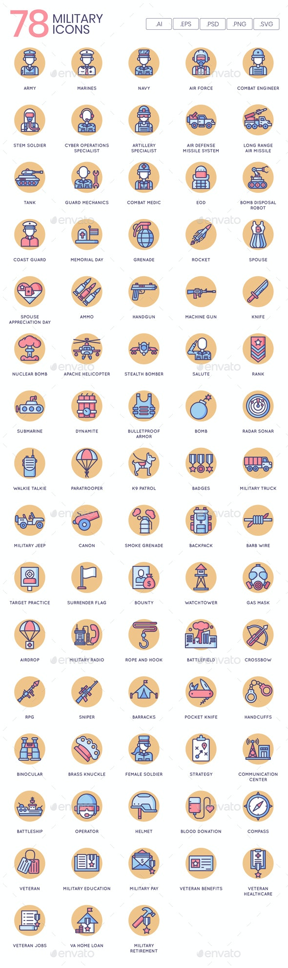 Military Icons - Butterscotch Series - Icons