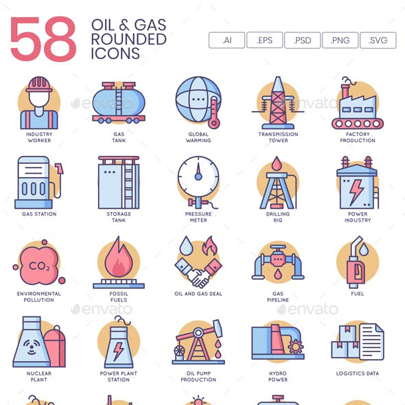 Oil and Gas Icons - Butterscotch Series