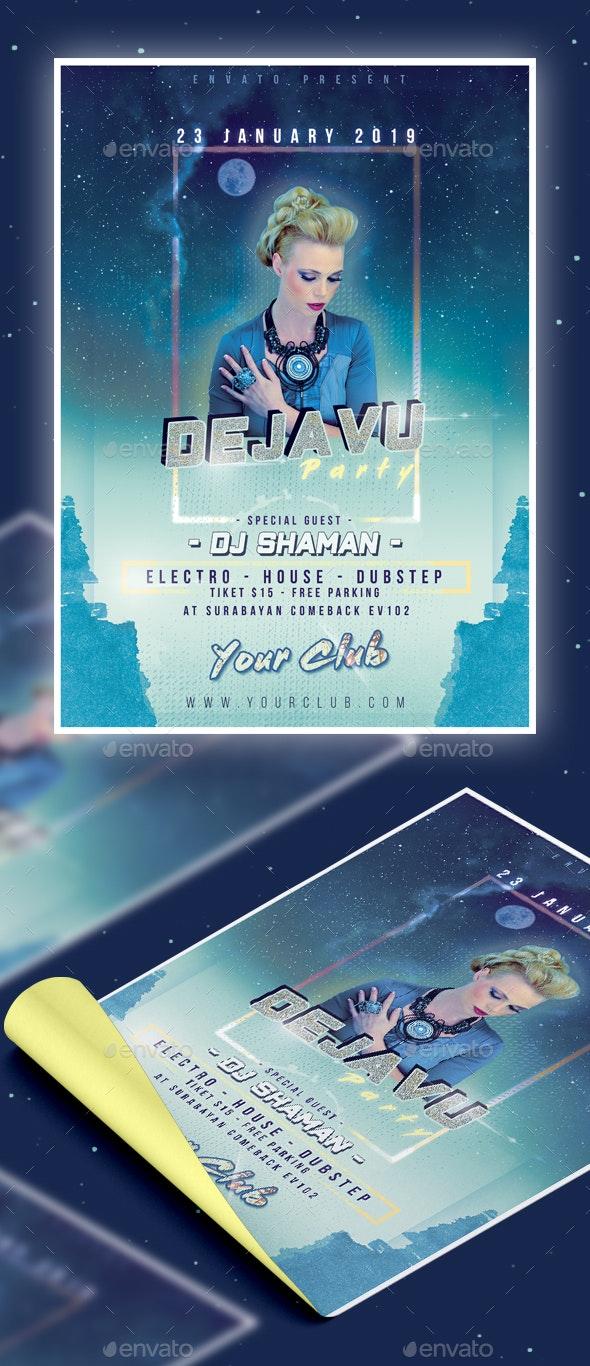 Blue Dejavu Club Party Flyer - Clubs & Parties Events