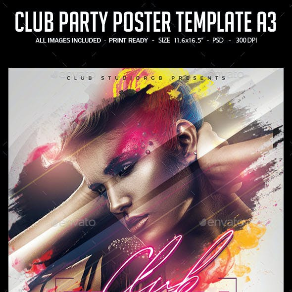 Club Party Poster Template A3