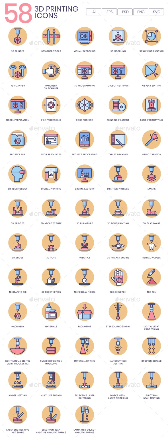 3D Printing Icons - Butterscotch - Software Icons