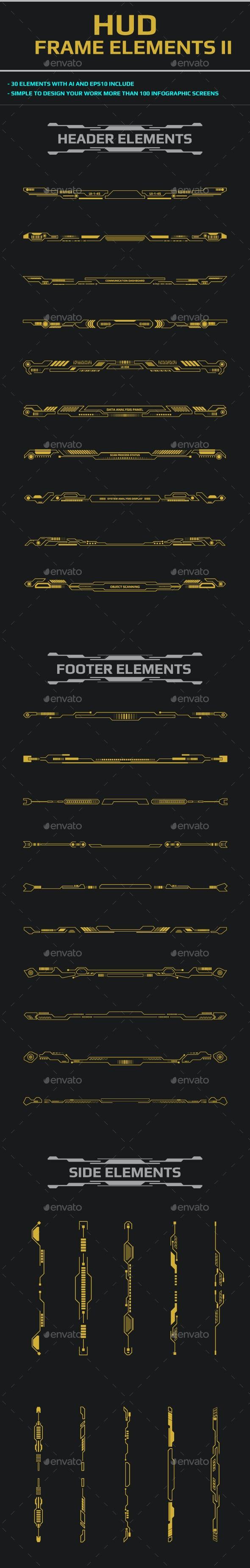 HUD Futuristic User Screen Interface Element Set - Borders Decorative