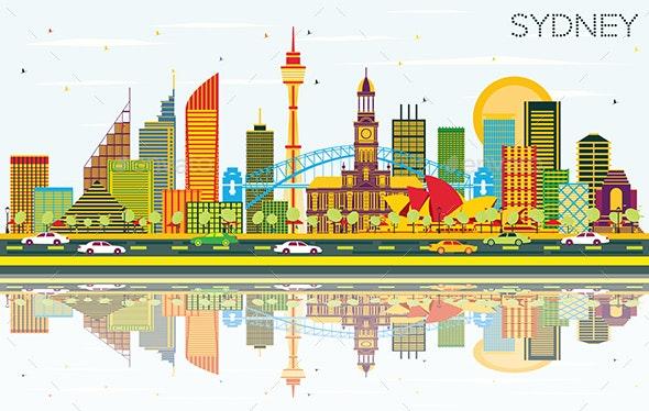 Sydney Australia City Skyline with Color Buildings - Buildings Objects