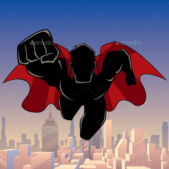 Superhero Coming City Silhouette - People Characters