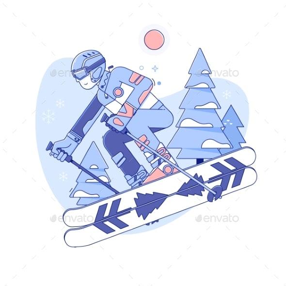 Skier Skiing in Ski Resort - Sports/Activity Conceptual