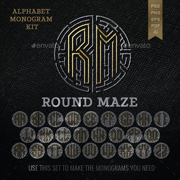 Monogram Set in a Round Maze Letters A to Z
