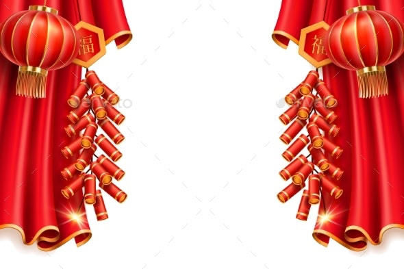 Lanterns and Curtain - Backgrounds Decorative