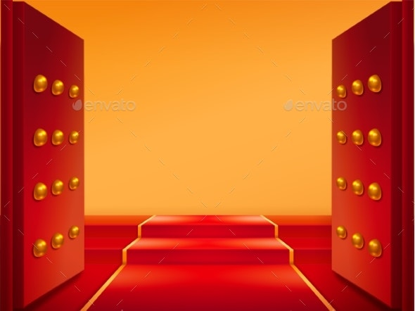 Opened Gates with Gold and Red Carpet on Stairs - Buildings Objects
