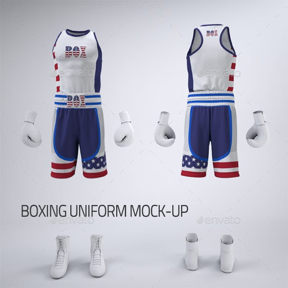 Boxing Uniform With Shorts or Trunks and Tank Top or Vest Mock-Up