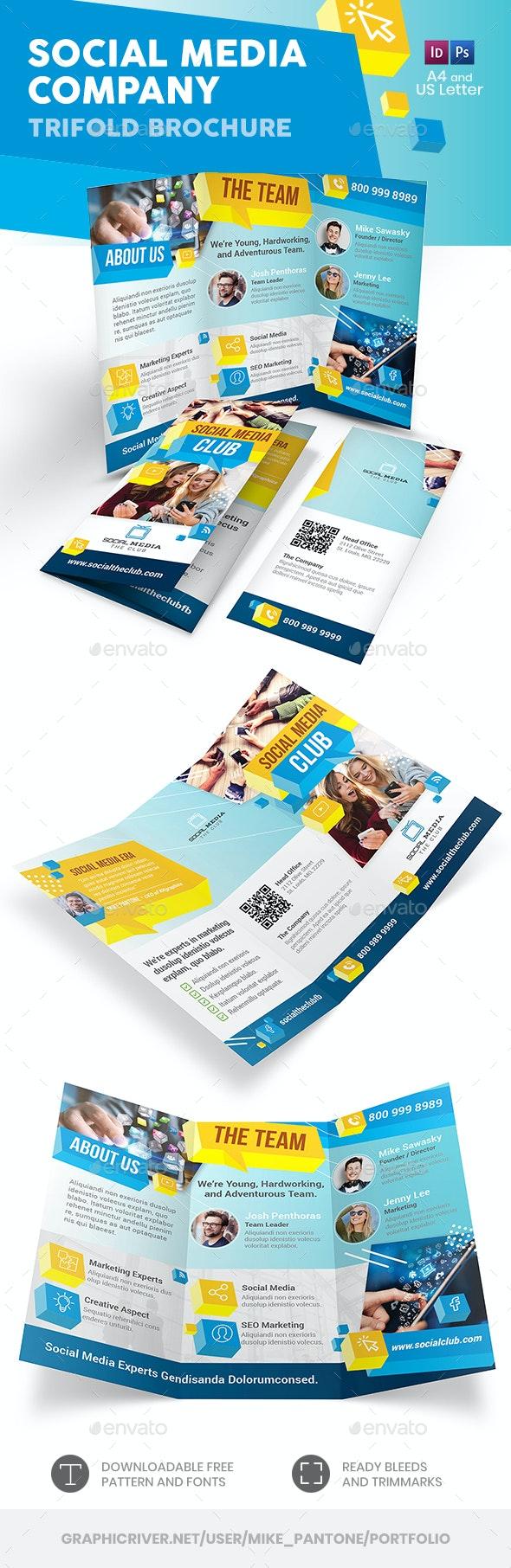 Social Media Company Trifold Brochure - Informational Brochures