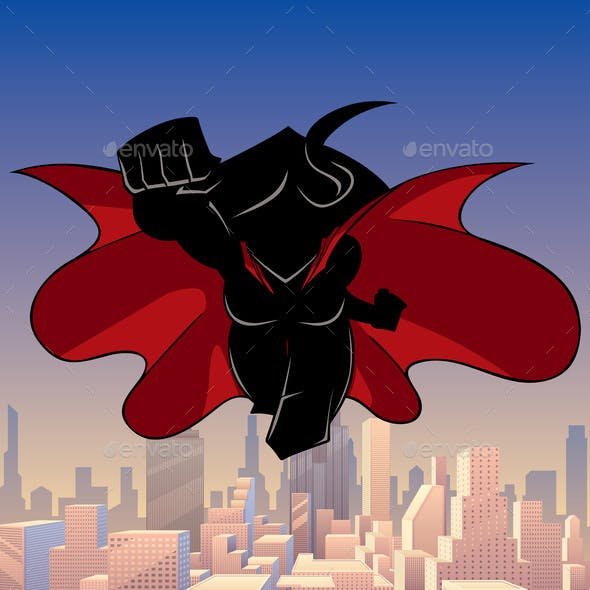 Superheroine Coming City Silhouette