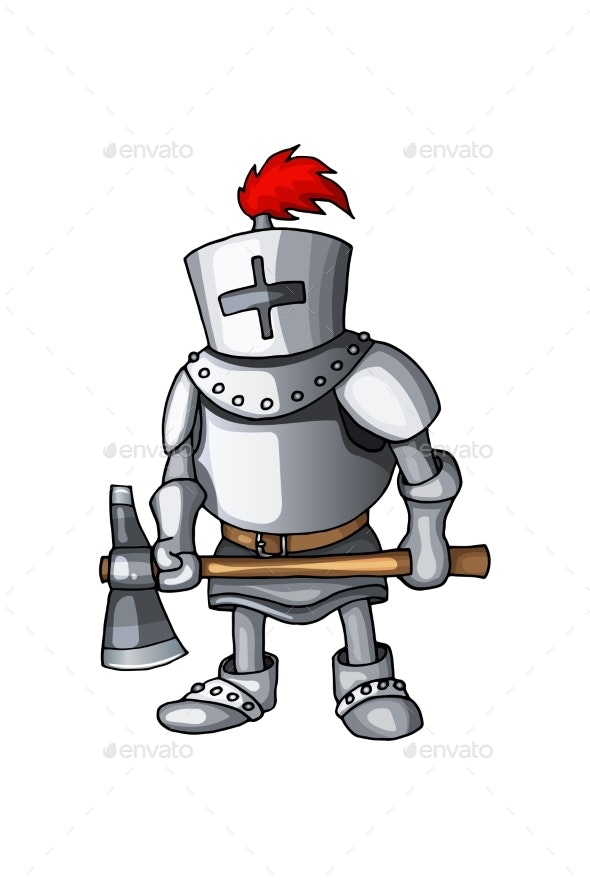 Cartoon Knight Full Body Armor Suit Standing - Miscellaneous Vectors