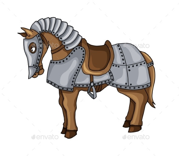 Cartoon Character of War Horse in Armour Suit - Animals Characters