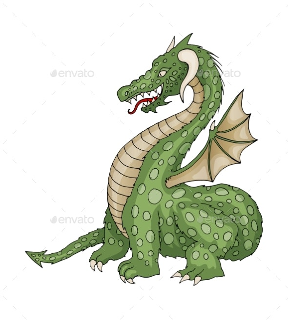 Vector Cartoon Dragon with Horns and Wings - Animals Characters