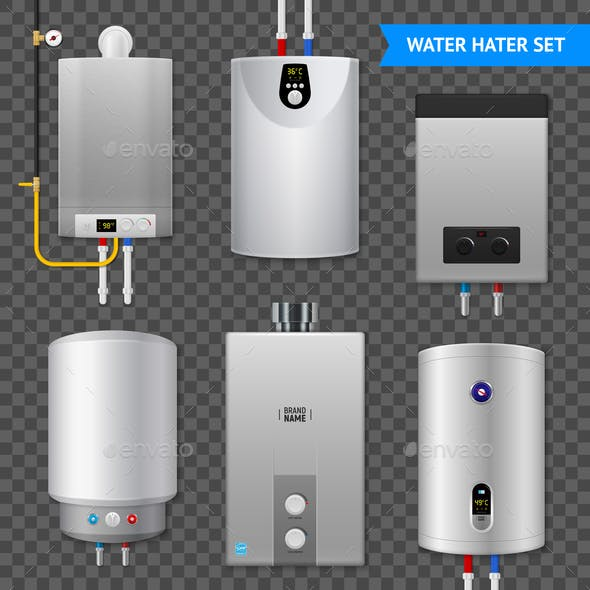 Realistic Electric Water Heater Boiler Transparent Icon Set