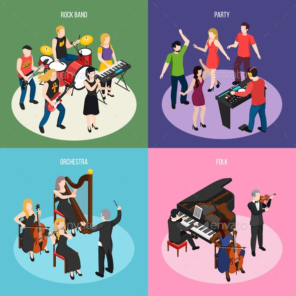 Musicians Isometric Design Concept - People Characters