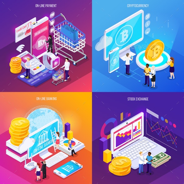 Financial Technology Isometric Design Concept - Concepts Business