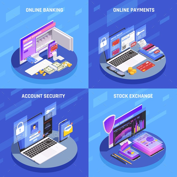 Online Banking Isometric Concept - Concepts Business