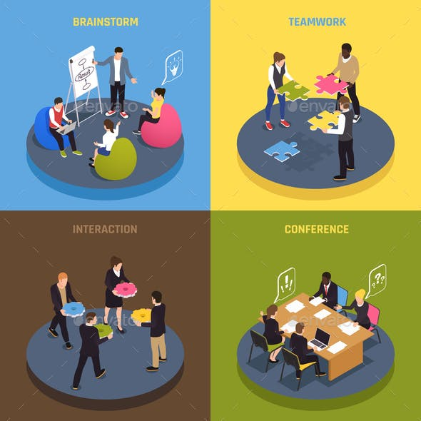 Teamwork Collaboration Isometric Concept