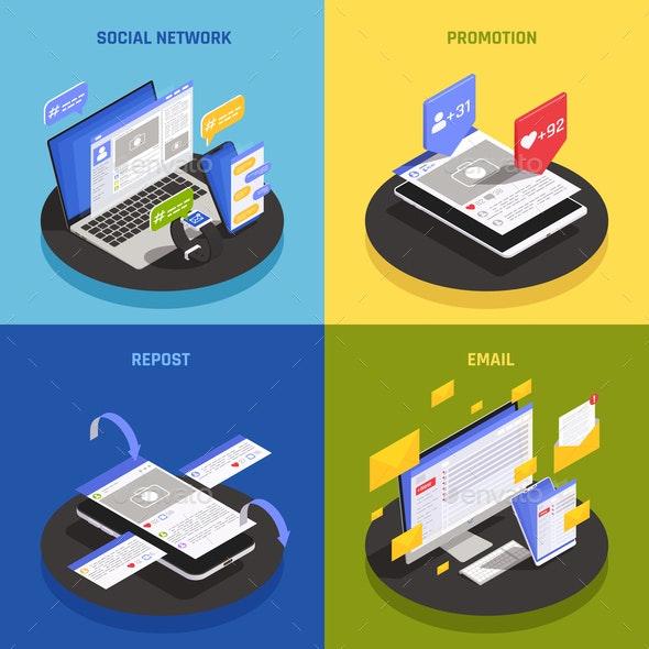 Social Media Technology Isometric Concept - Communications Technology