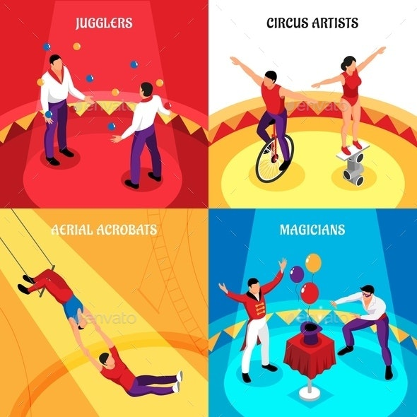Circus Professions Isometric Design Concept - Sports/Activity Conceptual