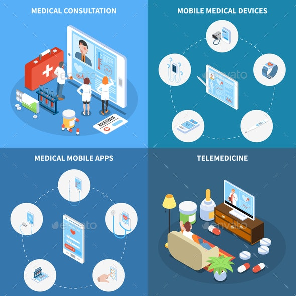 Telemedicine Isometric Design Concept - Health/Medicine Conceptual