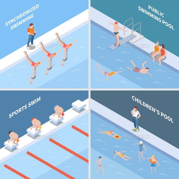 Public Swimming Pool Isometric Concept - Sports/Activity Conceptual