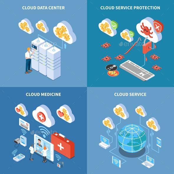 Cloud Technology Isometric Design Concept - Health/Medicine Conceptual