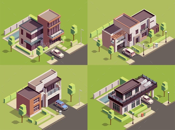Isometric Villa Compositions Set - Buildings Objects