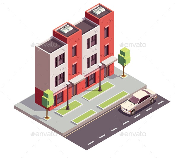 Isometric Townhouse Building Composition - Buildings Objects