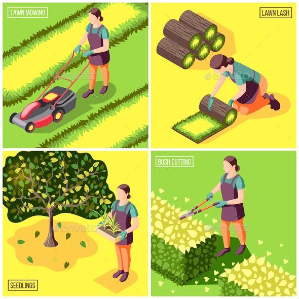 Landscaping Isometric Design Concept - Miscellaneous Vectors