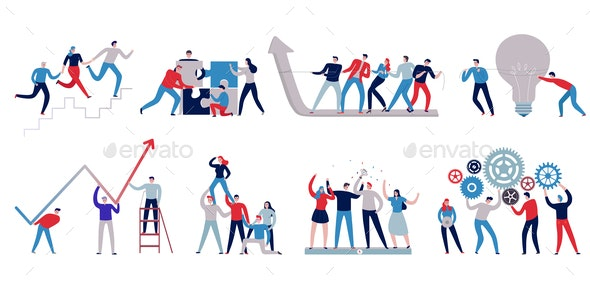 Teamwork Icons Set - People Characters