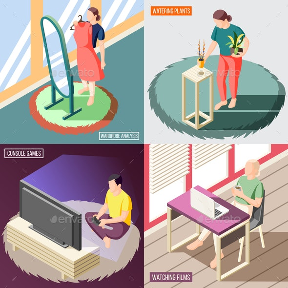 Weekend At Home Isometric Concept - People Characters