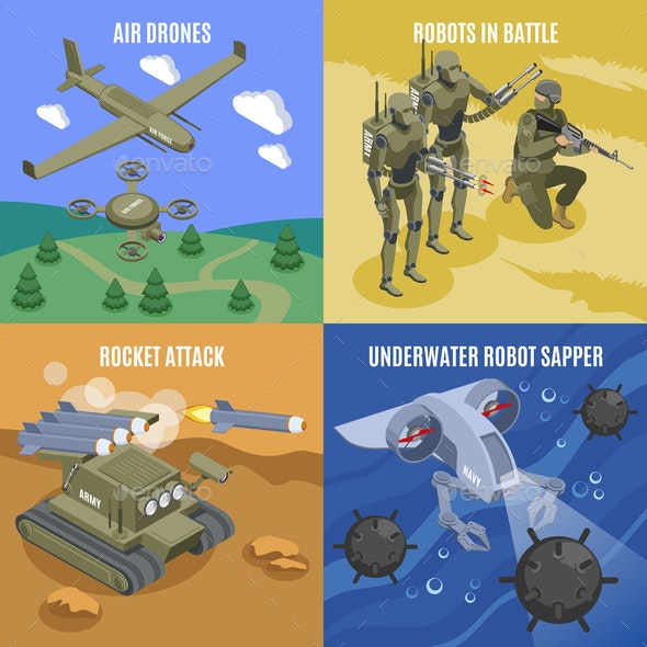 Military Robots 2x2 Design Concept - Industries Business
