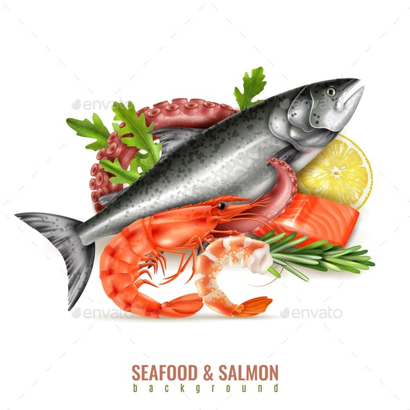 Seafood Salmon Realistic Composition - Food Objects