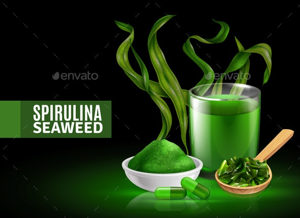 Spirulina Realistic Composition - Food Objects