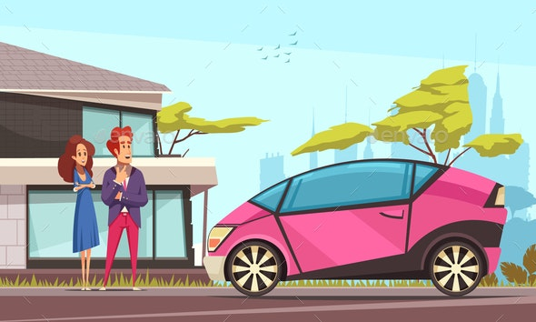Modern Car Ground Transportation Illustration - People Characters
