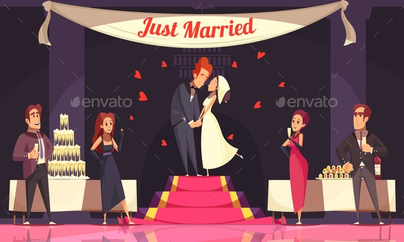 Wedding Reception Cartoon Illustration - Weddings Seasons/Holidays