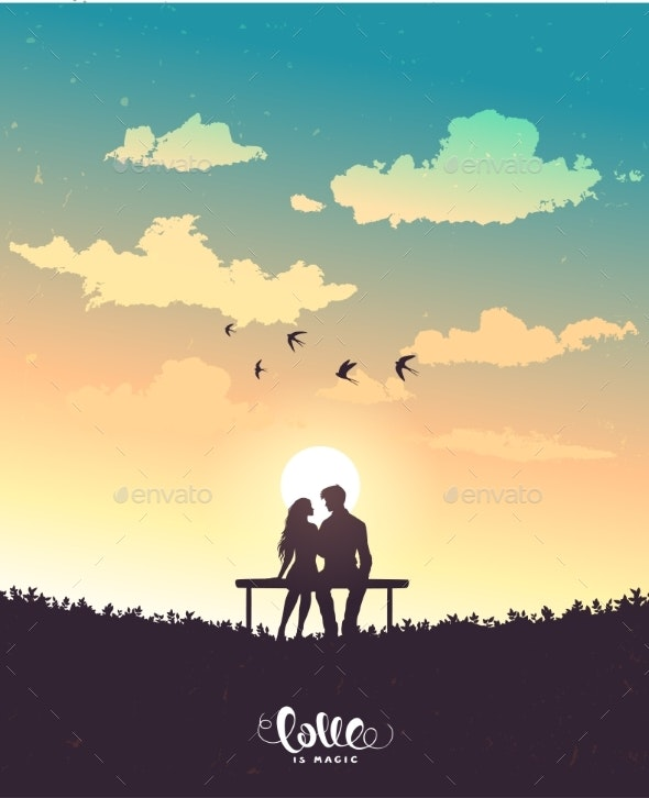 Lovers Sunset - People Characters