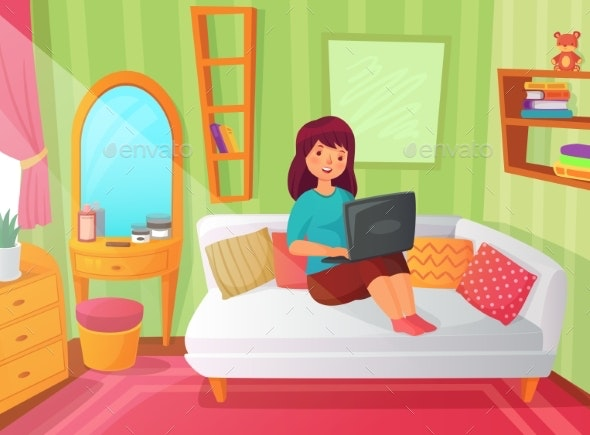Girl Student Bedroom. Teenager Apartment Room - People Characters