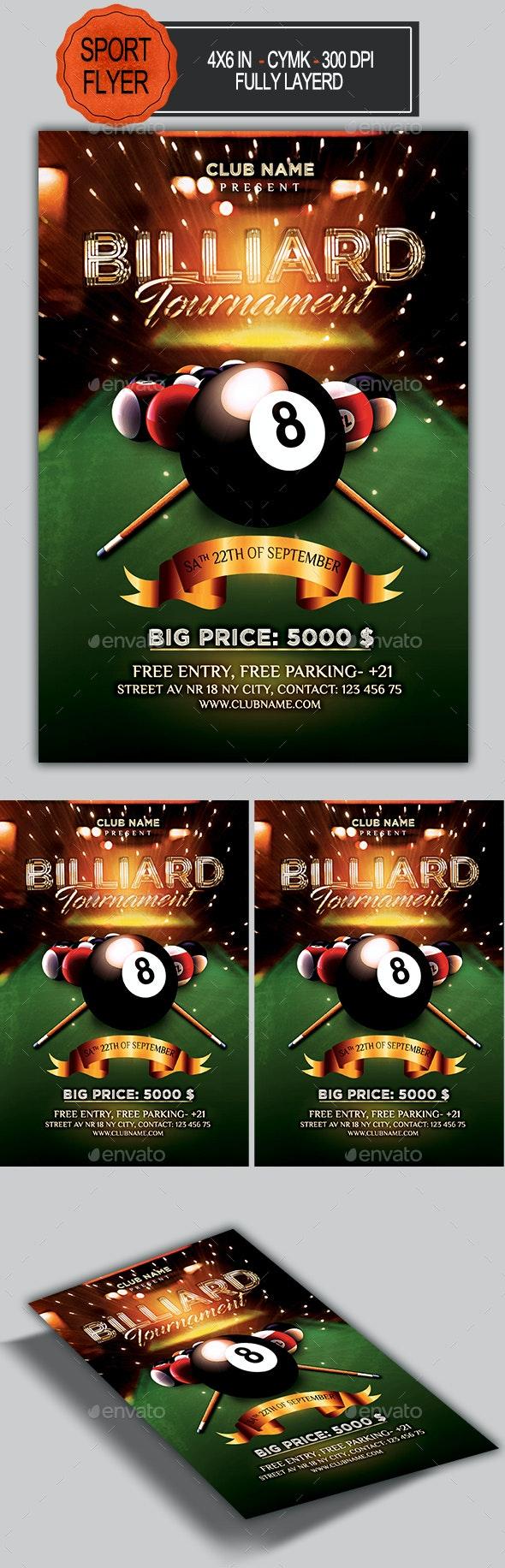 Billiard Tournament Flyer - Sports Events
