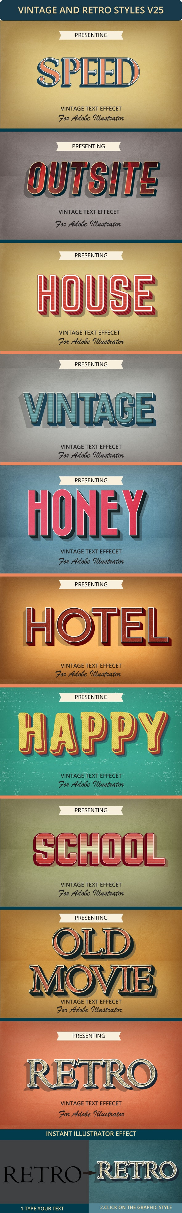 Retro Text Effect - Styles Illustrator