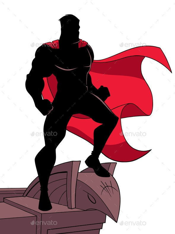 Superhero Roof Silhouette - People Characters