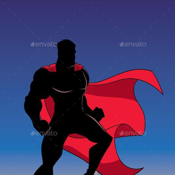 Superhero Watching City Silhouette