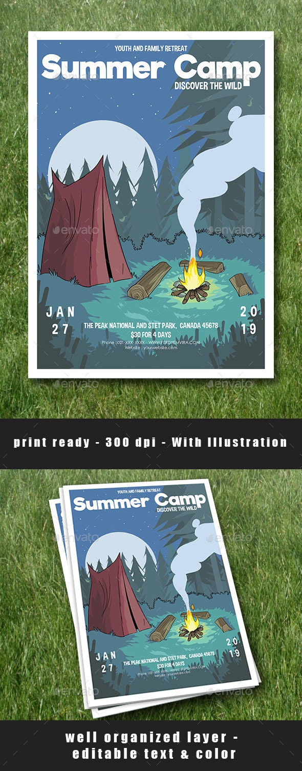 Summer Camp Flyer Poster - Flyers Print Templates