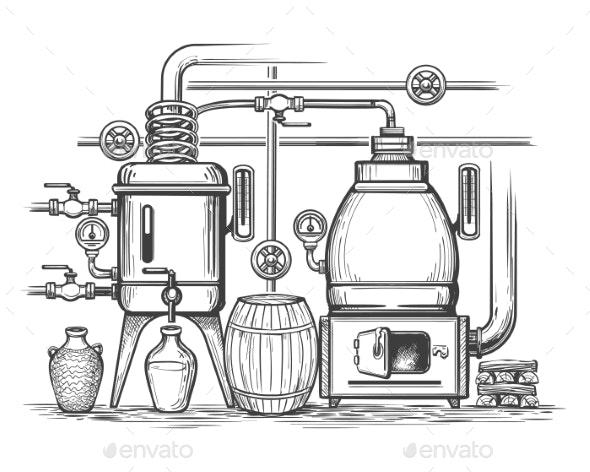 Distillery Sketch Illustration - Industries Business