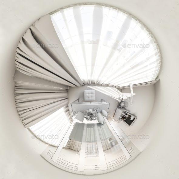 3d Render 360 Seamless Panorama of Bedroom