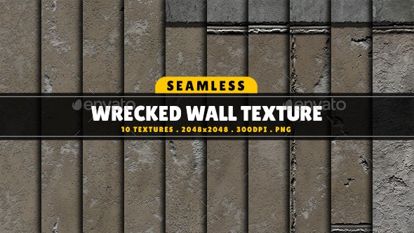 Texture Pack Seamless Wrecked Wall Vol 01 - Concrete Textures